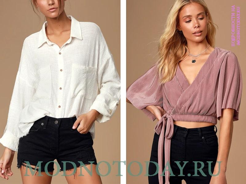 Справа - блузка из вельвета, слева рубашка с широким рукавом