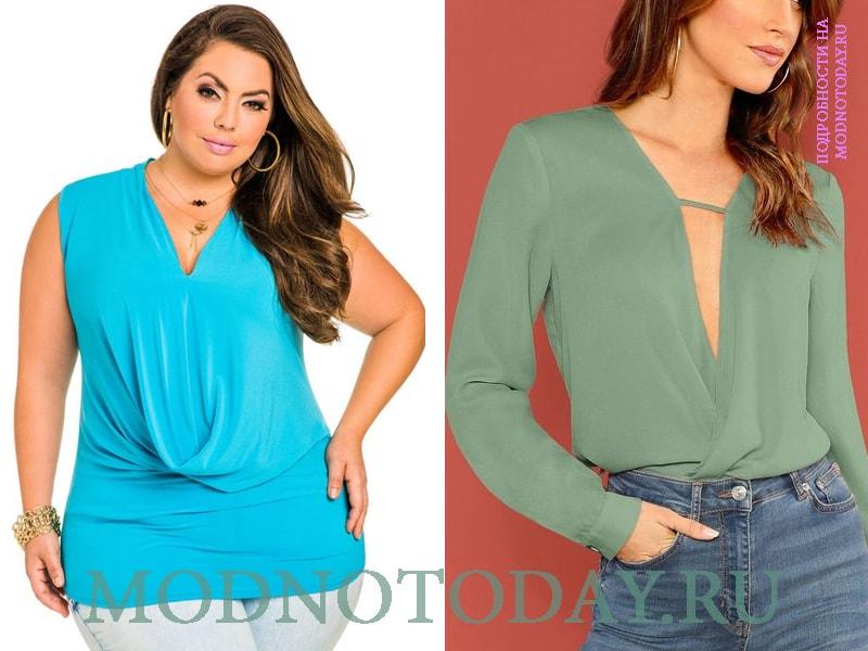 Блузка бирюзового цвета для полных