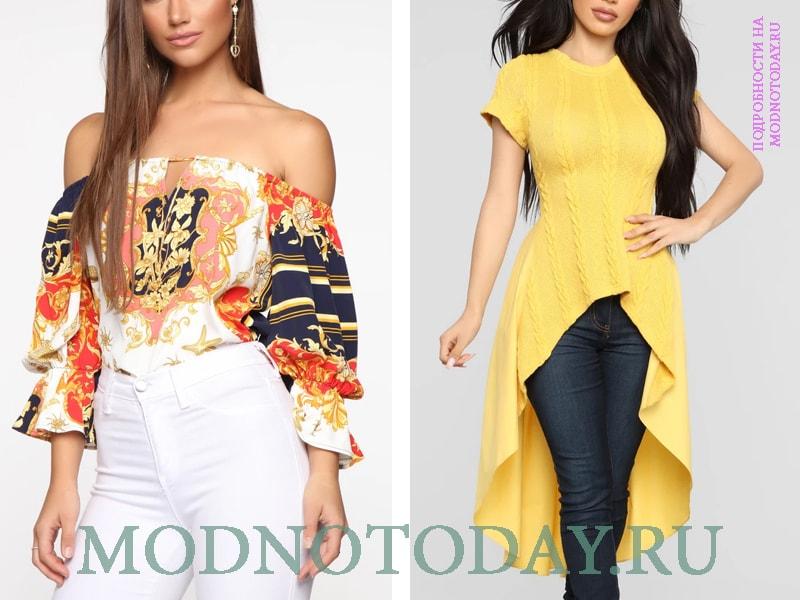 Справа - длинная вязаная блузка-туника желтого цвета, слева - цветастая
