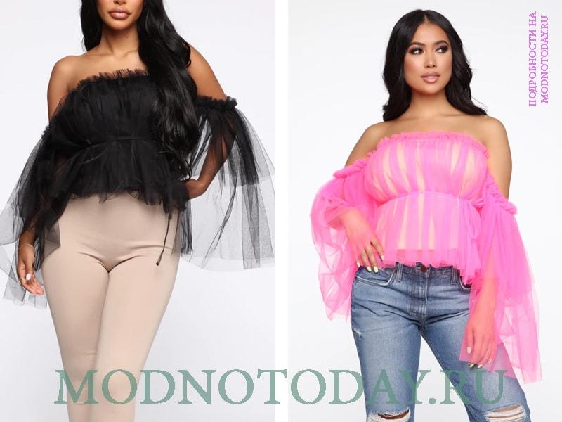 Нарядные блузки из тонкого фетра с открытыми плечами - черная и розовая модель