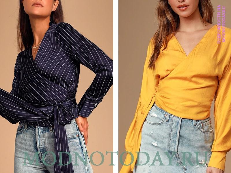 Сочетание разныхе материалов блузок с джинсовой тканью