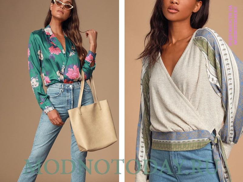 Модель в стиле кимоно слева и бохо справа