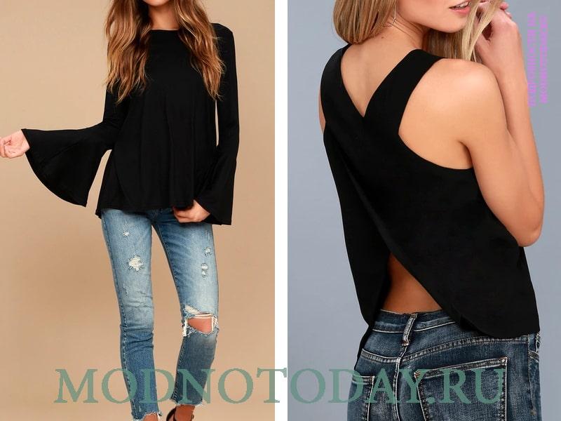 Фасоны черного цвета в сочетании с джинсами