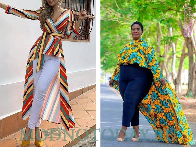На фото цветные блузки-туники для стройных и полных женщин