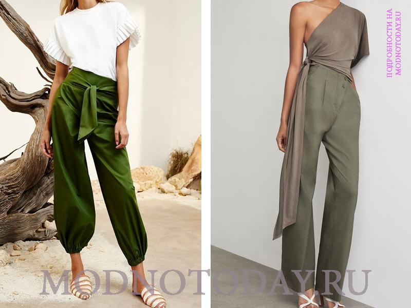 Оттенки зеленого цвета, воплощенные в брюках с запахом
