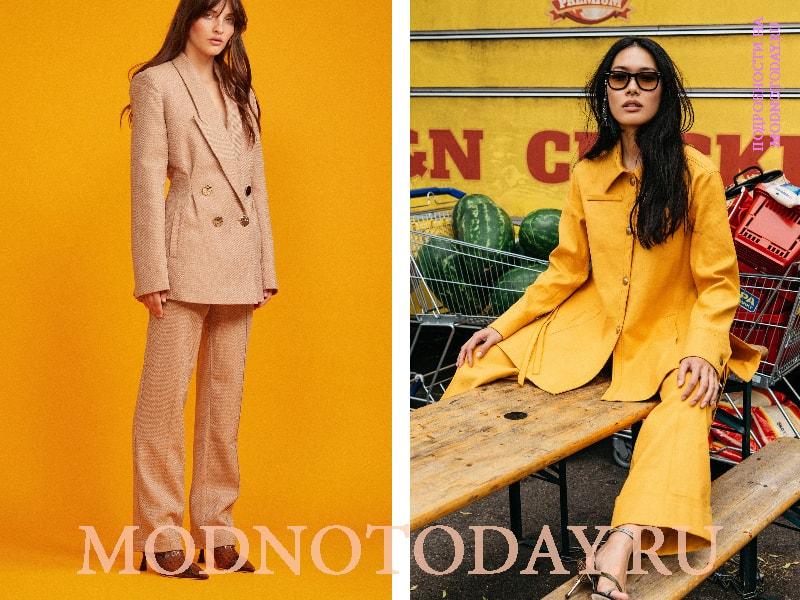 Тотальные желтые образы с брюками-трубами и пиджаком того же цвета, что и штаны