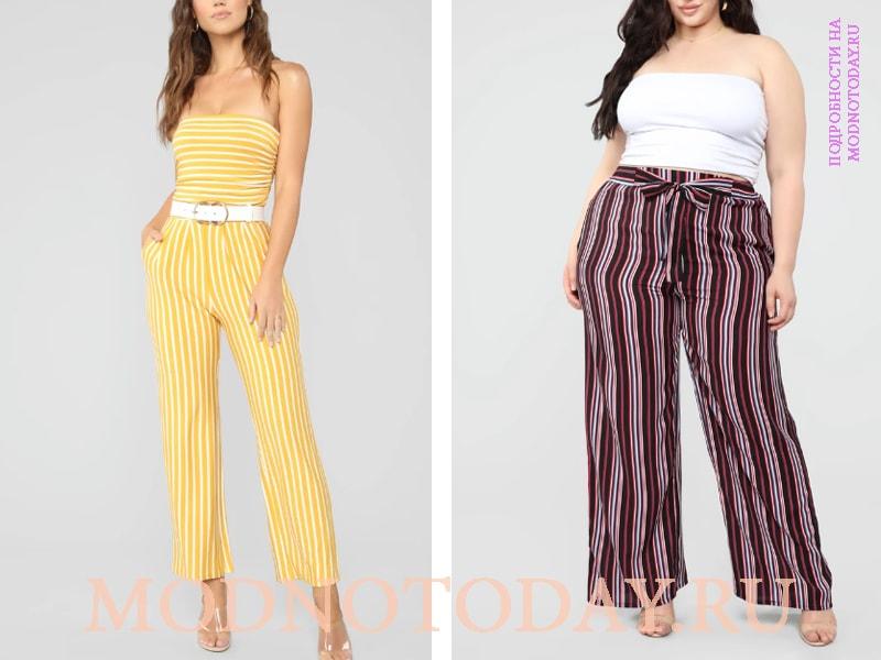 Справа - пример для полной женщины, слева - комбинезон с прямыми штанинами