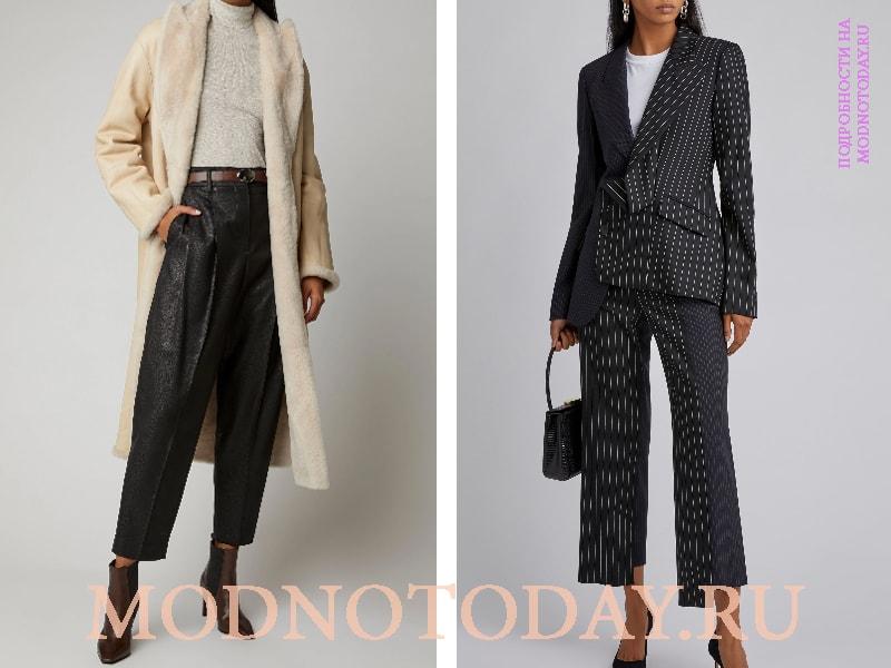 Длинное пальто и строгий пиджак в луке для работы