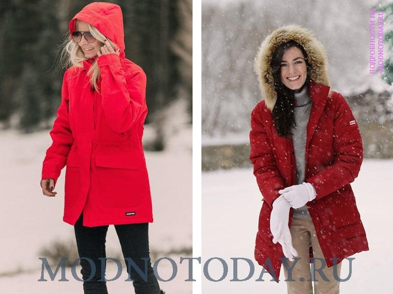 Зимние сочетание красного цвета с другими вещами
