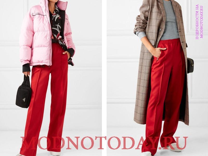 Сочетание красных брюк с верхней одеждой - слева с розовым пуховиком, справа с коричневым пальто
