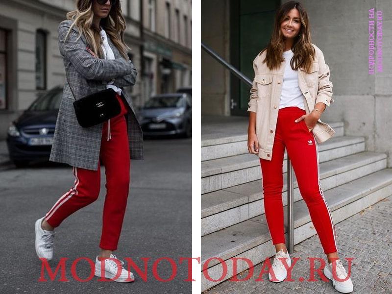 На фото спортивные красные брюки