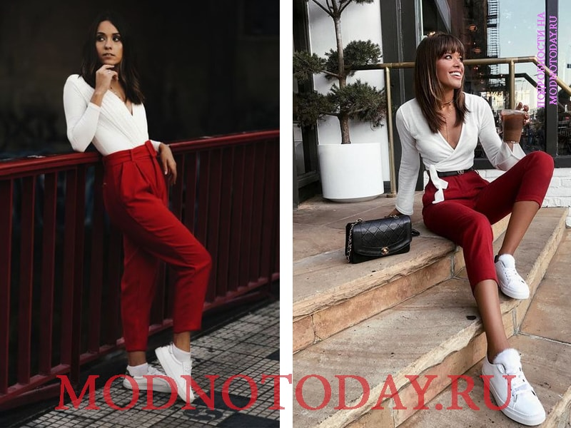 Красные брюки с белыми кроссовками и кедами