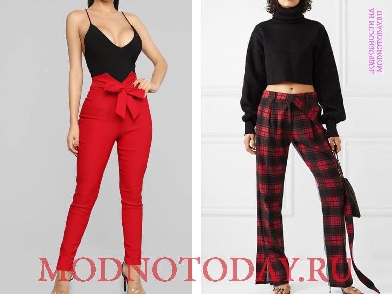 Черно-красные брюки и изделие с поясом на узел