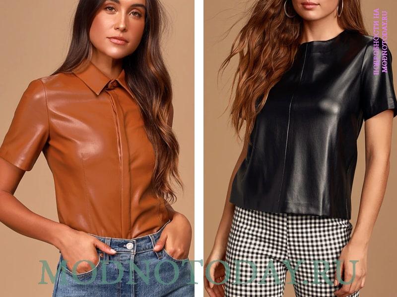 Блузка рубашка из кожи и прямая модель