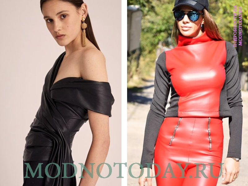 Красная комбинированная блузка из кожи и черная модель