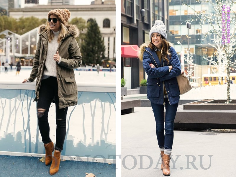 Примеры, с чем носить женскую зимнюю парку