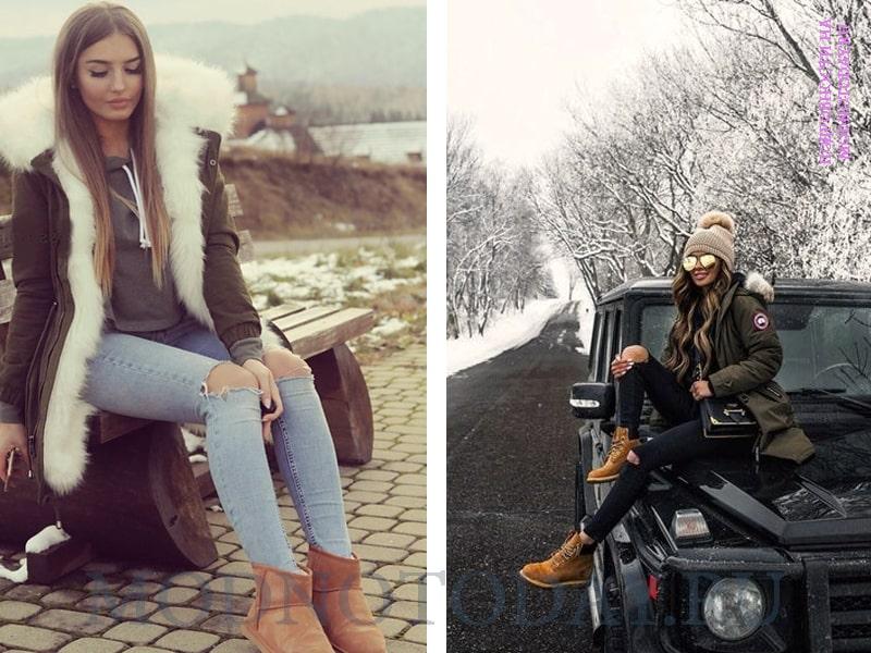 Примеры, с чем носить парку зимой