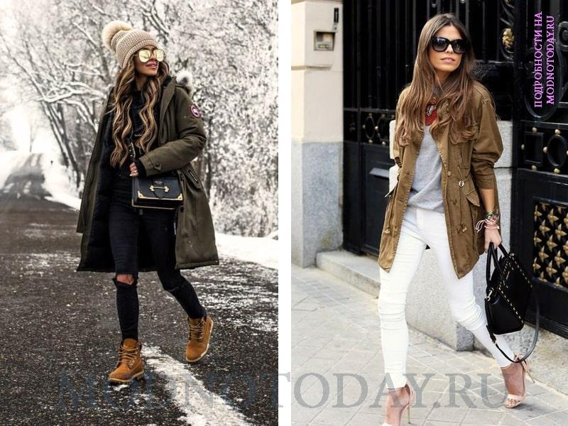 Примеры, с чем носить женскую парку осенью и зимой