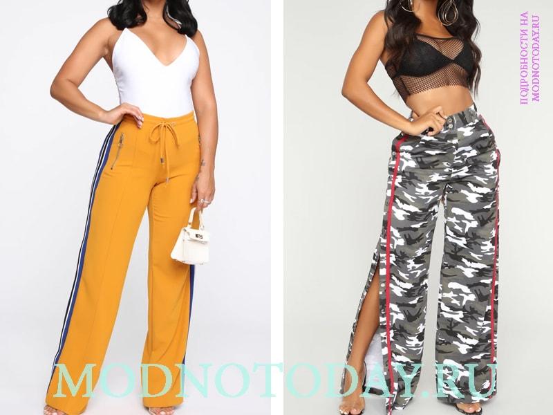 Широкие брюки с ламасами контрастного цвета