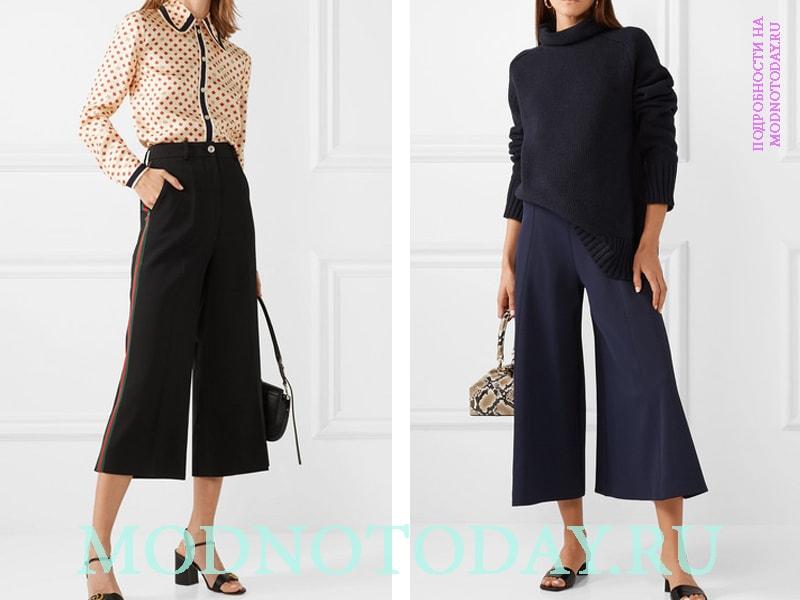 Укороченные брюки в двух примерах (черный и синий цвет)