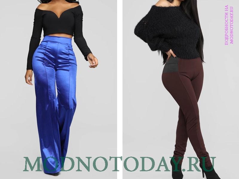 Слева на фото стрейчевые атластны брюки, справа из искусственной замши