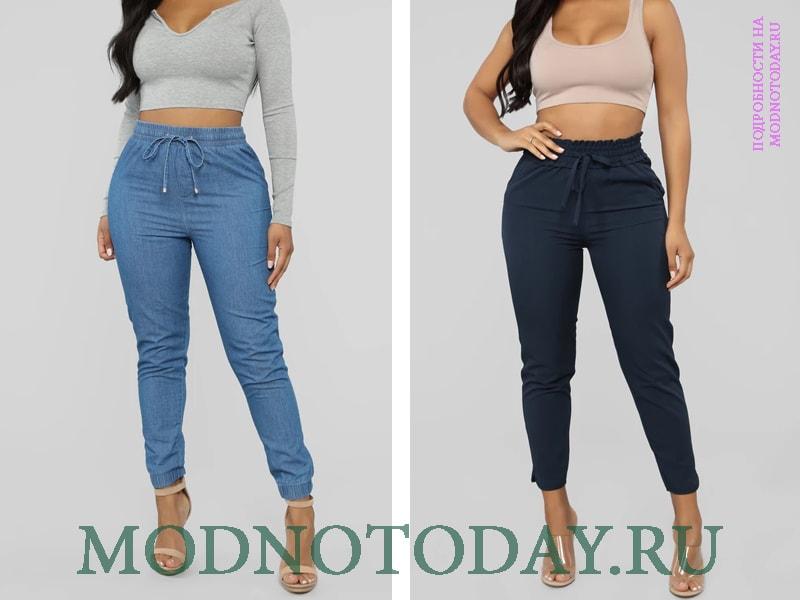 Темные и светлые джинсы узкого фасона с резинкой на высокой посадке