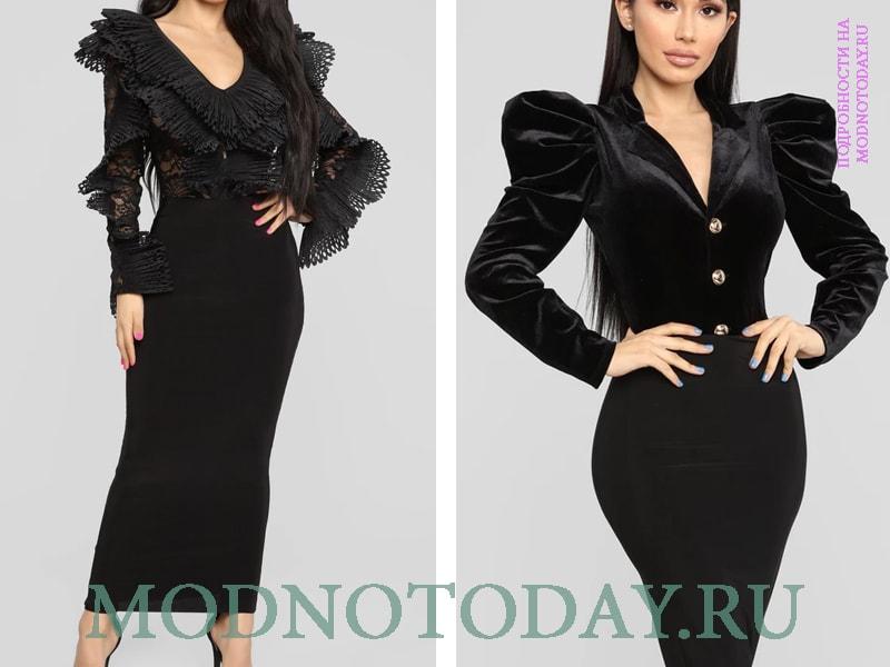 Черная блузка со сложными рукавами