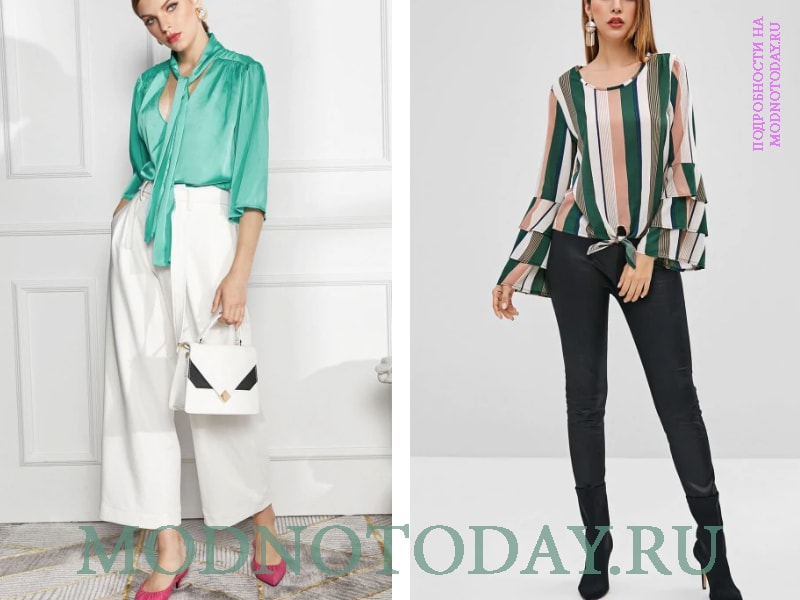 Светло-зеленая блузка с белыми брюками и полосатая с черными штанами