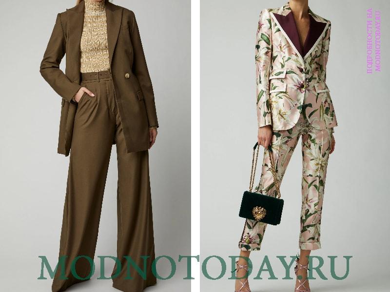 Вечерние образы с узкими и широкими брюками в деловом стиле