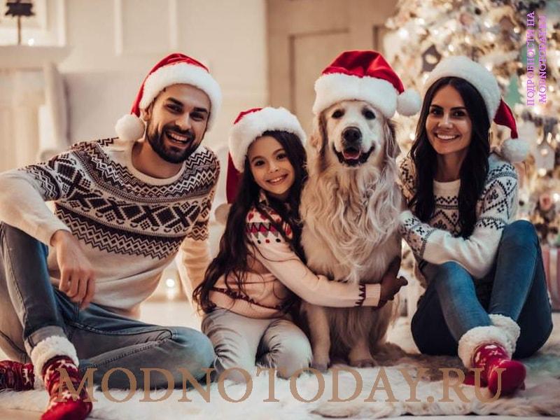 Семейная фотосессия в джинсах и свитерах