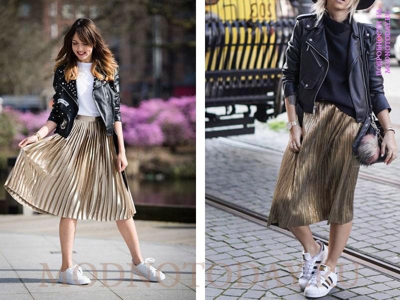 Длинная плиссированная юбка с кожаной косухой