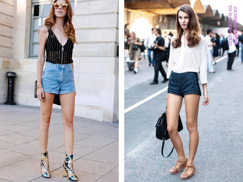 Короткие шорты с туфлями