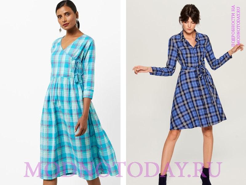 Модели платьев из клетчатой ткани для повседневной работы работа в вк для девушек