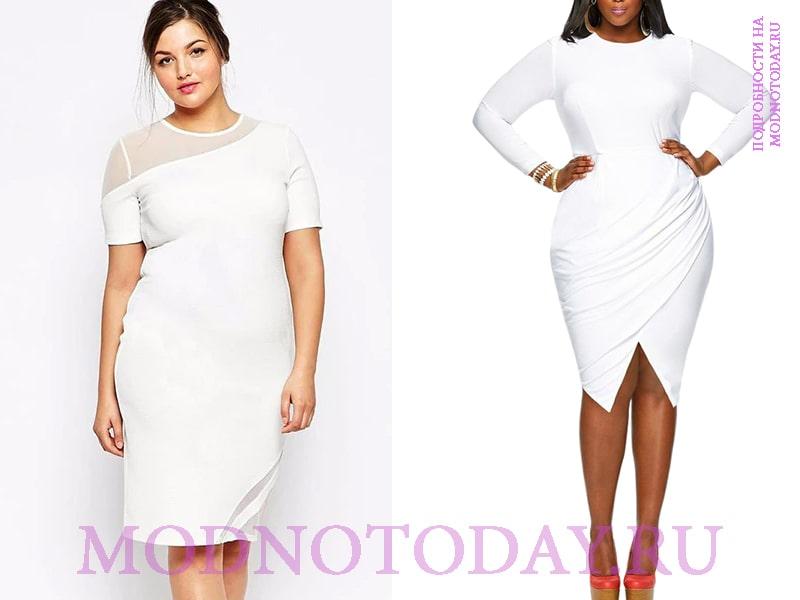 Повседневное белое платье на яблоко