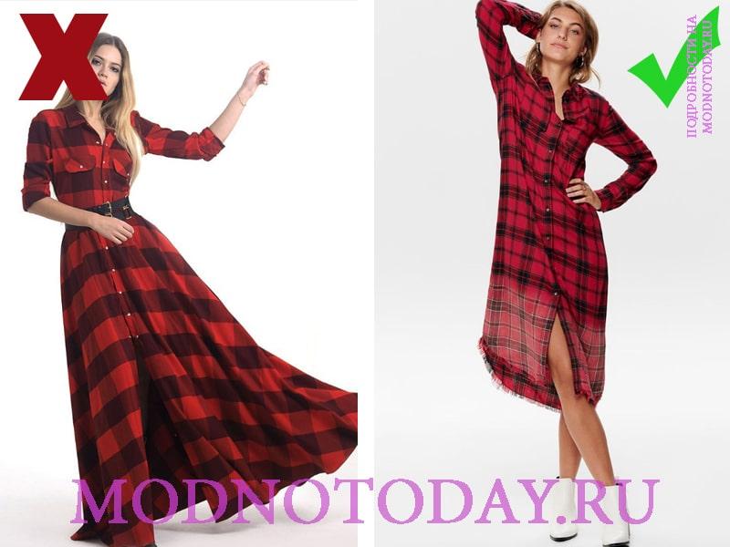 Модное красное платье в клетку