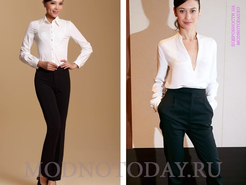 Деловой женский образ с брюками черного цвета и белой рубашкой