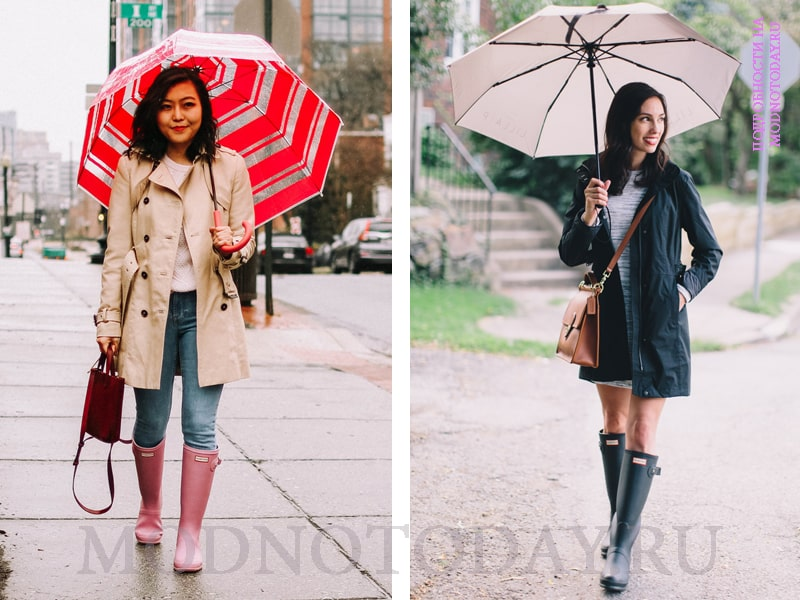 Пальто и резиновые сапоги