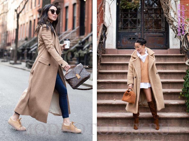 Обувь к женскому пальто бежевого цвета