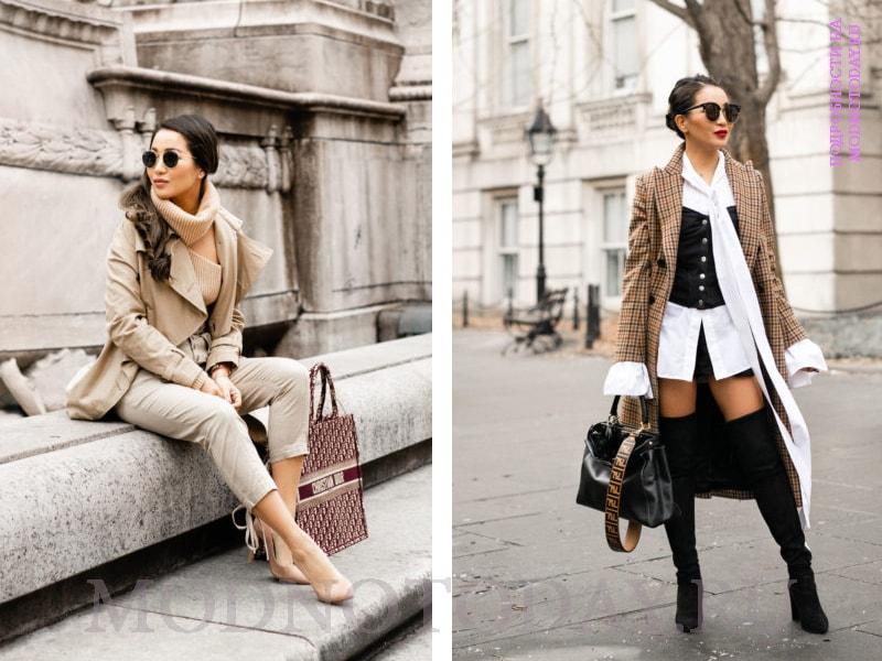Красивый образ с бежевым женским пальто