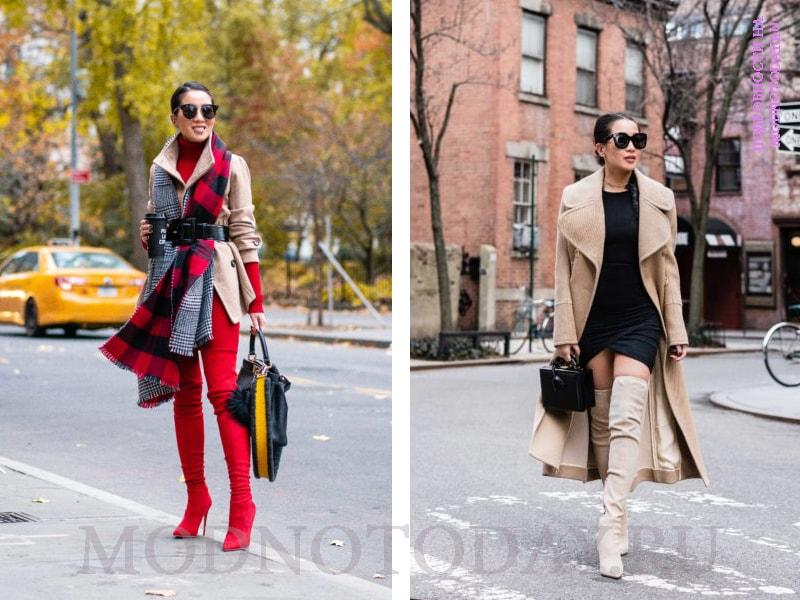 Женский образ с бежевым пальто