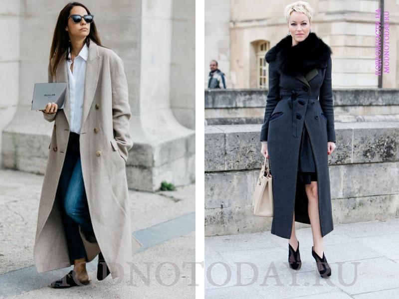 Образ с длинным зимним пальто