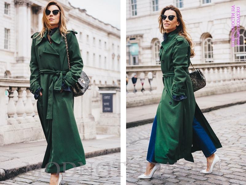 Образ с зеленым длинным пальто