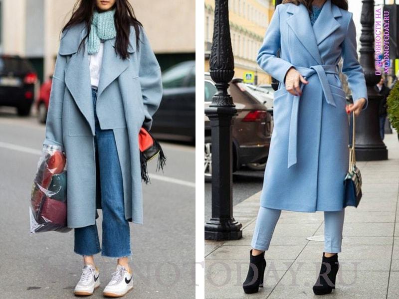 Образ с голубым длинным пальто