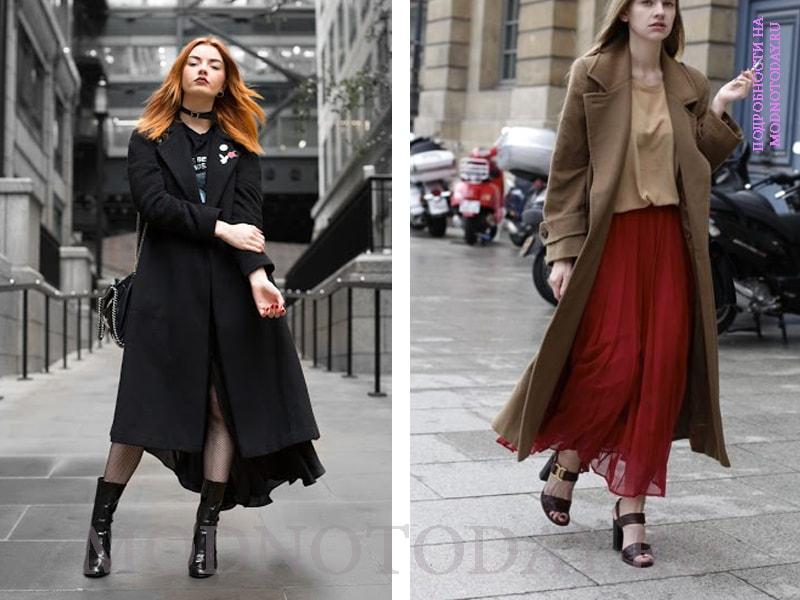 Образ с длинным черным и бежевым пальто