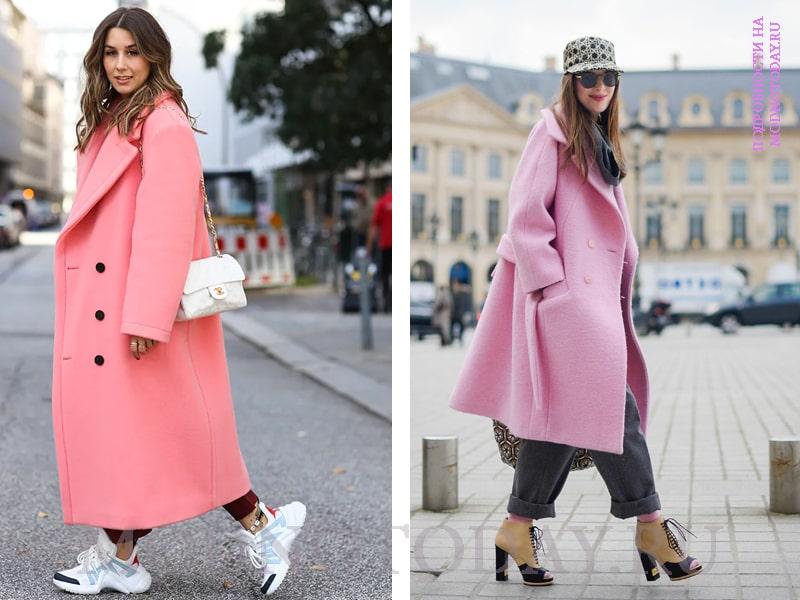 Образ с розовым пальто-оверсайз