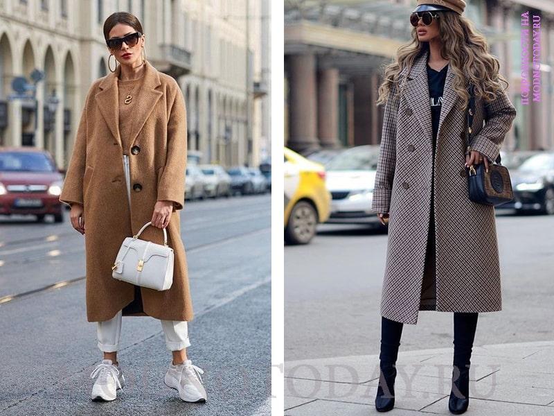 Женские образы с коричневым пальто-оверсайз