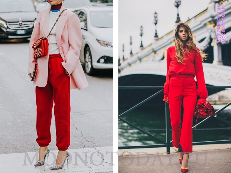 Красная рубашка с красными брюками