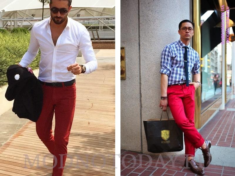 Мужская рубашка в клетку с красными брюками