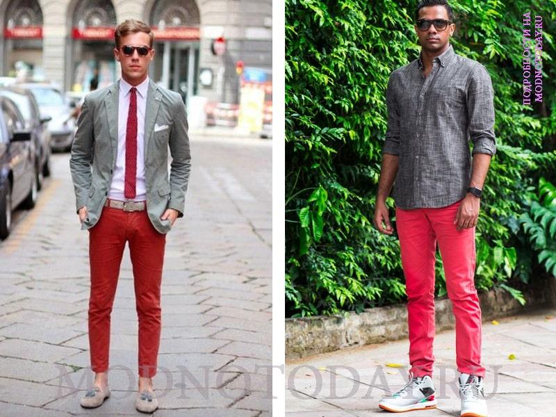 Серая рубашка с красными брюками