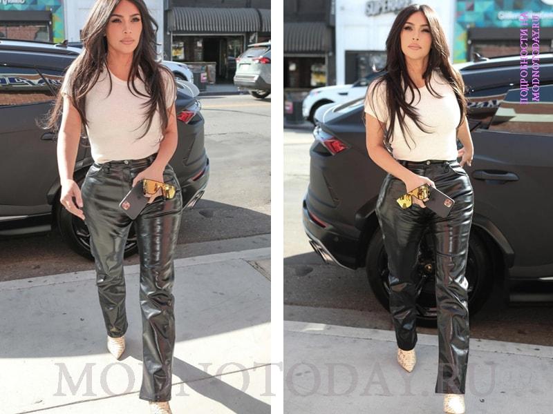 Ким Кардашьян в кожаных брюках
